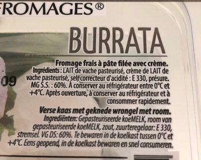 Mozzarella Burrata - Ingredients