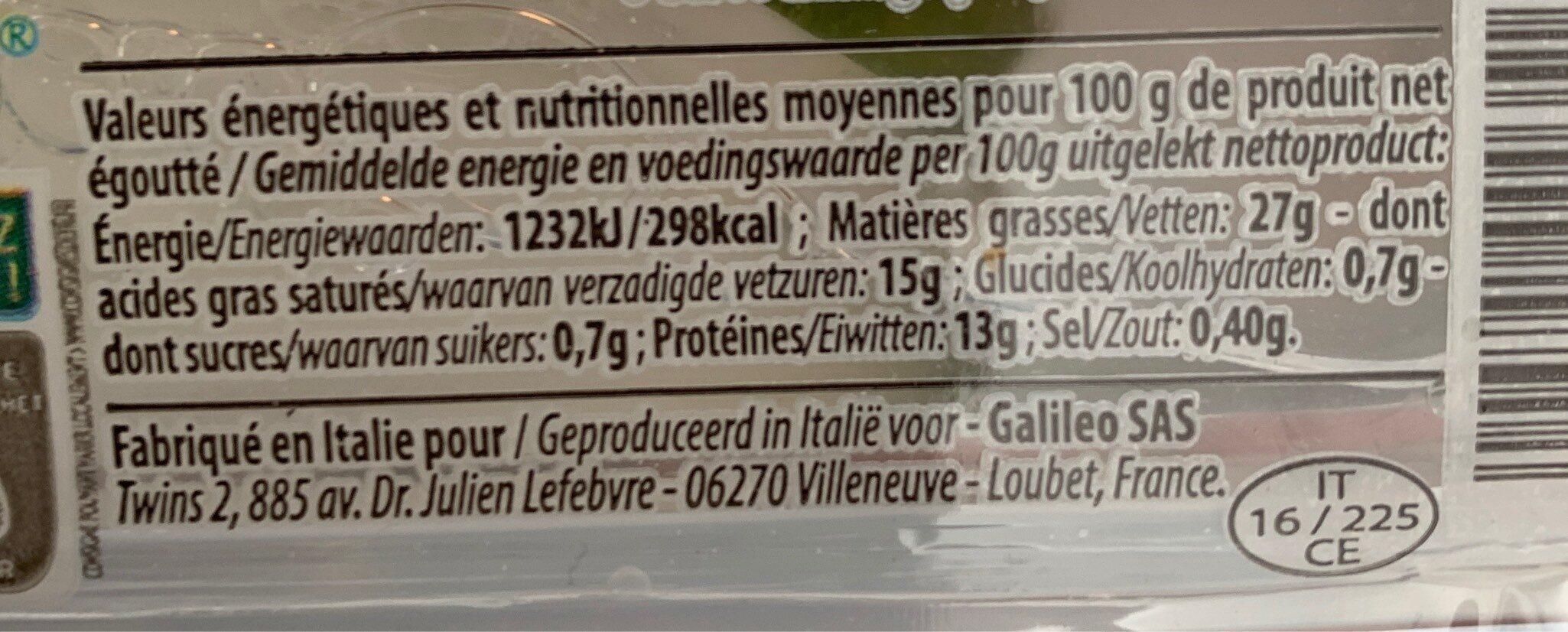 Mozzarella Burrata - Informations nutritionnelles - fr