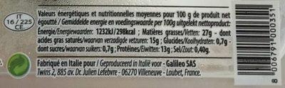 Mozzarella Burrata - Informations nutritionnelles