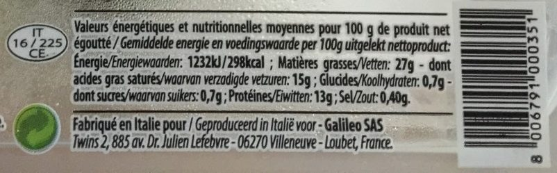 Mozzarella Burrata - Nutrition facts