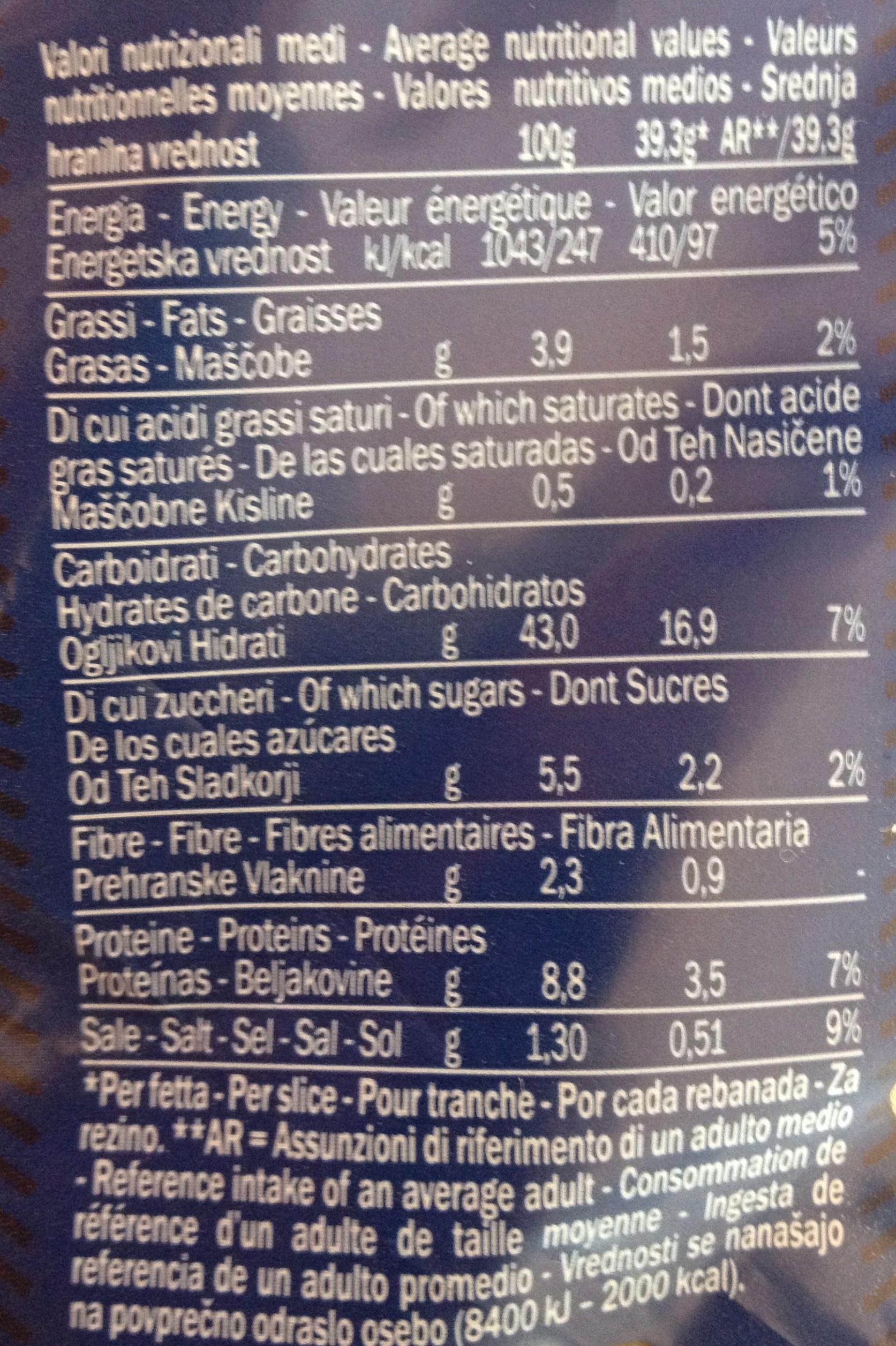 American sandwich Pane bianco per sandwich - Informazioni nutrizionali