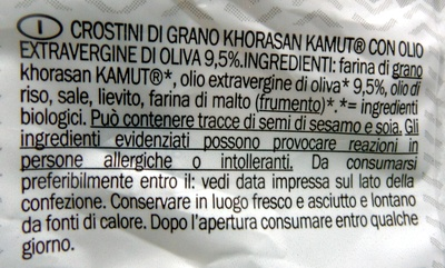 Morato - pane e idee - Crostini Kamut - prodotto biologico - Ingredients