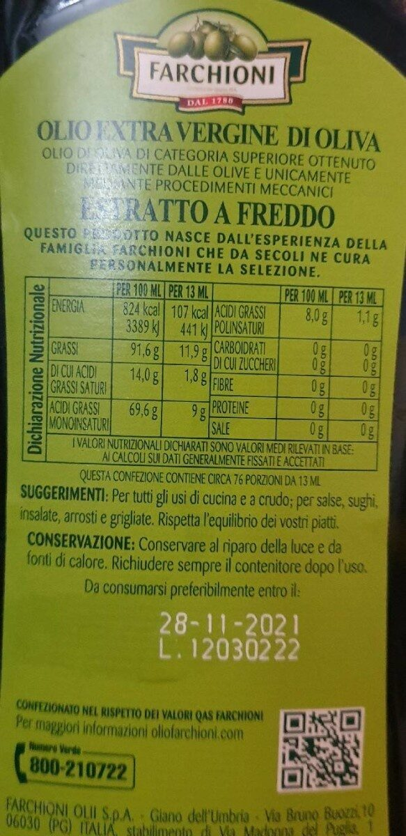 Olio - Informations nutritionnelles - fr