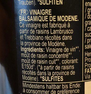 Aceto Balsamico di Modena IGP - Ingredienti - fr