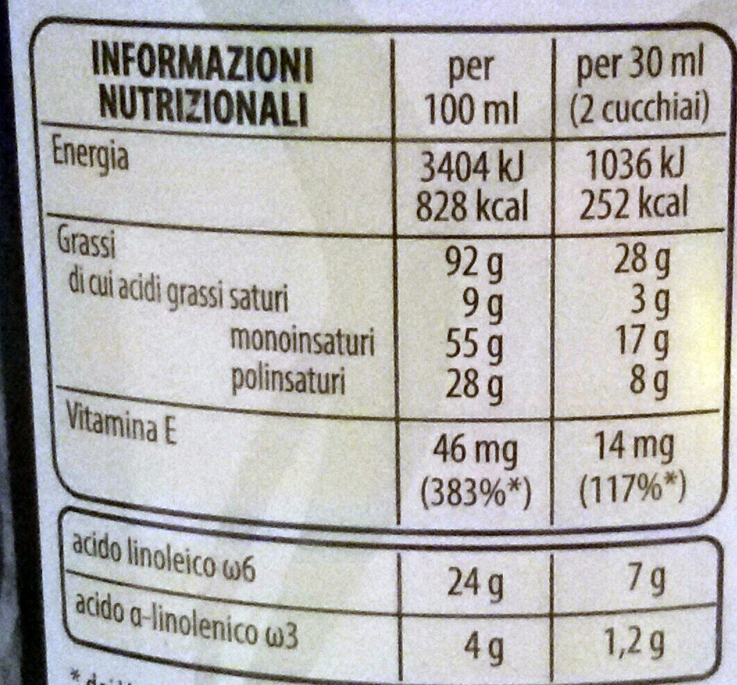 Vitapiù 5 oli - Nutrition facts