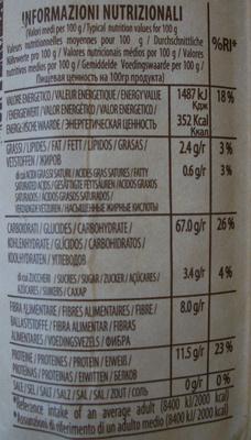 Pâtes alimentaires de qualité supérieure de blé entier BIOLOGIQUE - Informations nutritionnelles - fr