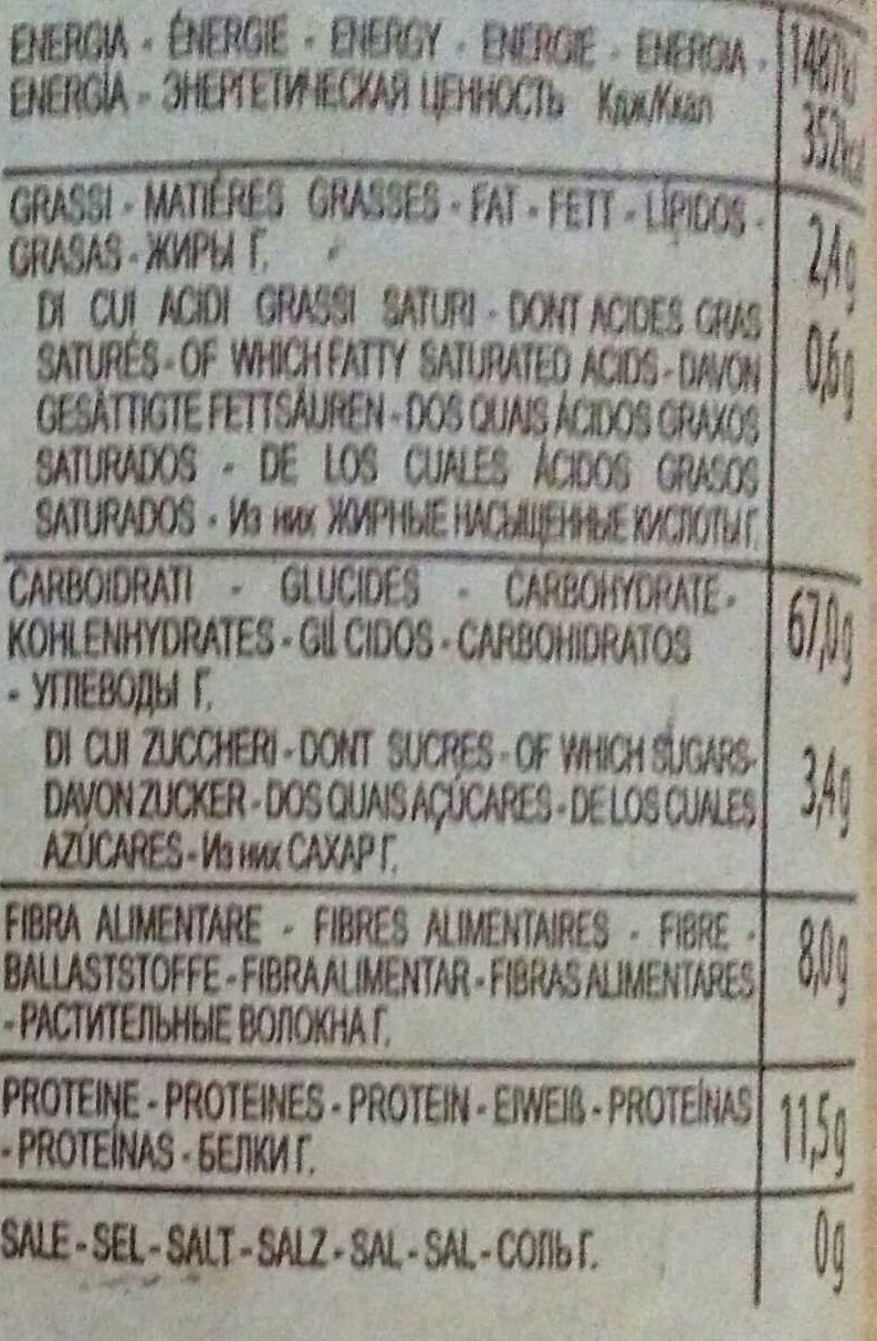 Spaghetti Complète - Nutrition facts