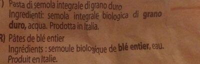 Orecchiette N°91 Biologique Intégrale - Ingrédients
