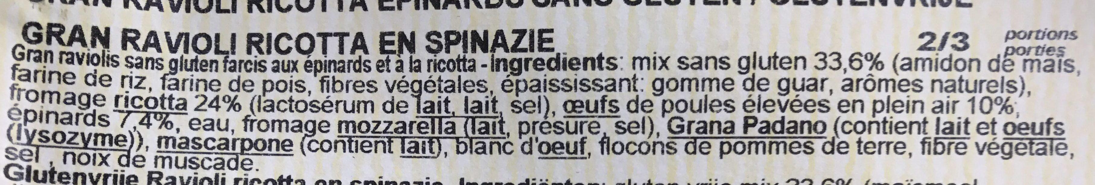 Ravioli ricotta e spinaci gluten free - Ingrediënten - fr
