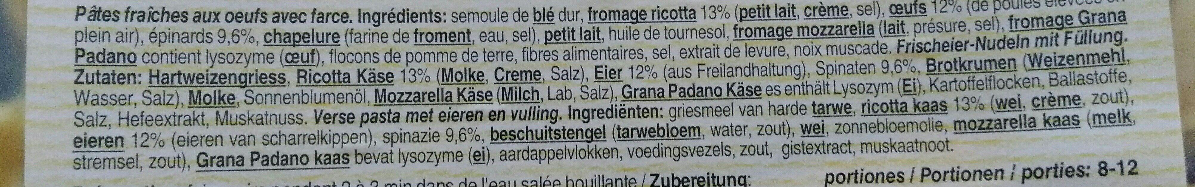 Tortelloni Ricotta Épinards - Ingrédients - fr