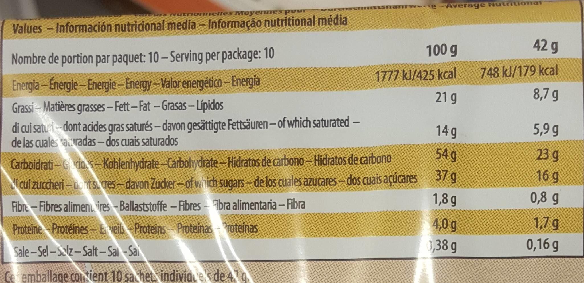 Gâteau moelleux cacao fourrage au lait - Nutrition facts