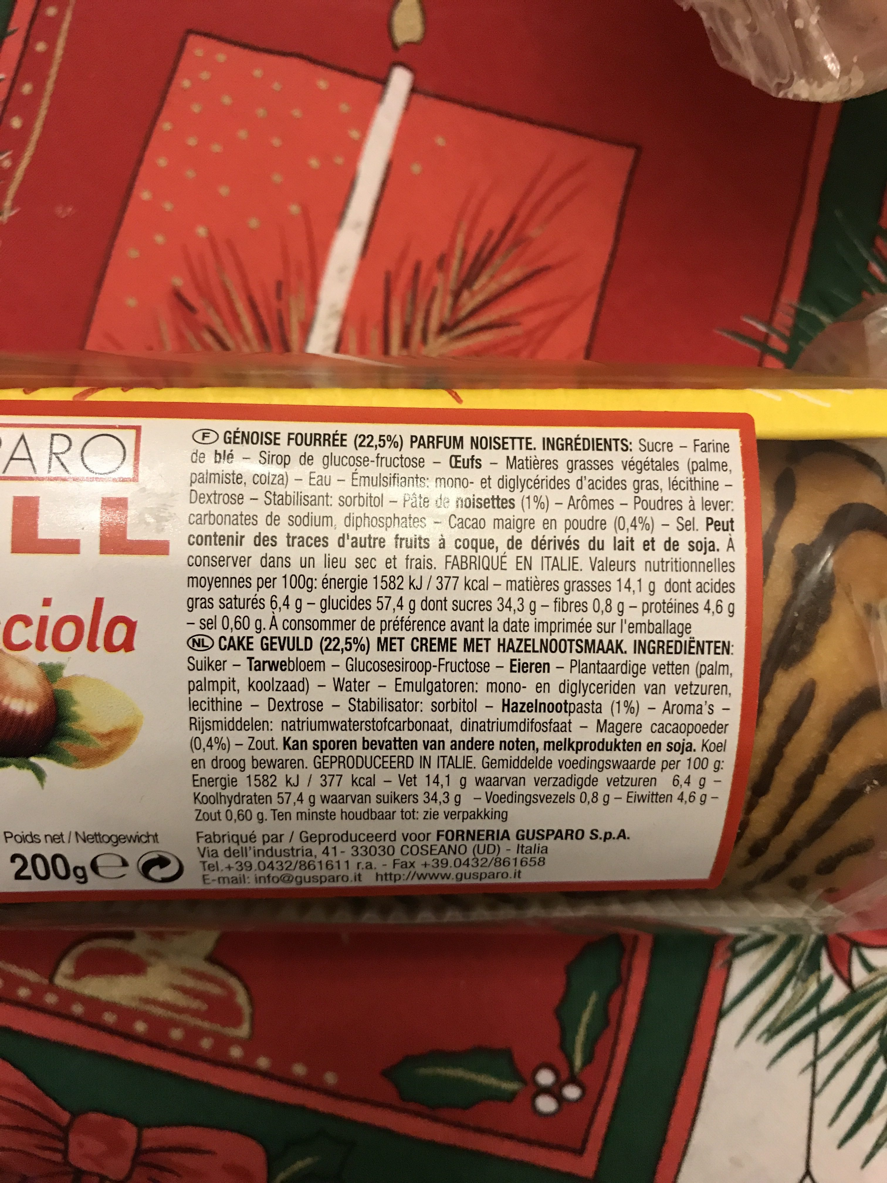 Gusparo Roll Nocciola 200G - Ingredients