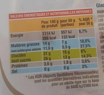 Glace goût tiramisu - Informations nutritionnelles - fr