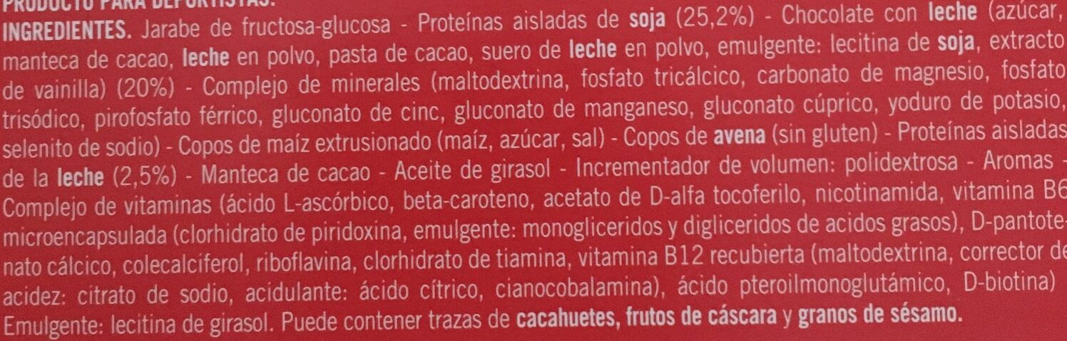 Barrita con proteinas - Ingredientes - es