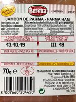 Prosciutto di Parma - Nährwertangaben - fr