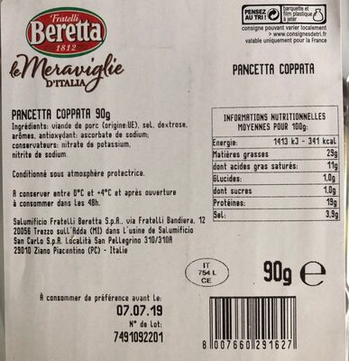 Beretta pancetta coppata - Produkt - fr