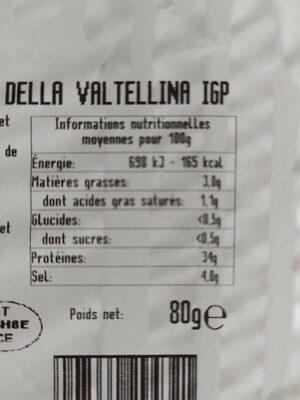 Bresaola della valtellina - Nutrition facts - fr