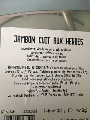 Jambon roti aux herbes - Inhaltsstoffe - fr