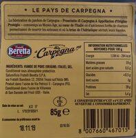 Prosciutto di Carpegna DOP (20 mesi) - Nährwertangaben - fr
