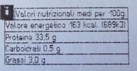 Bresaola della Valtellina - Informazioni nutrizionali
