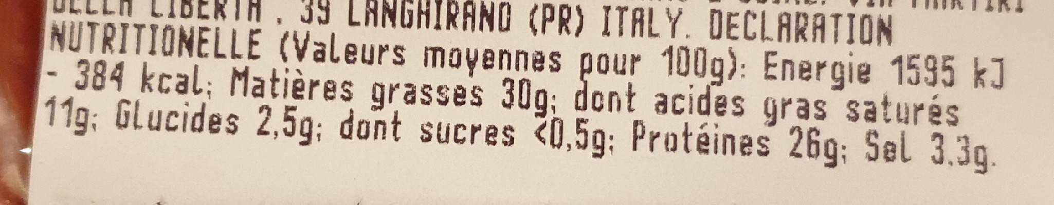 Chorizo - Nährwertangaben - fr