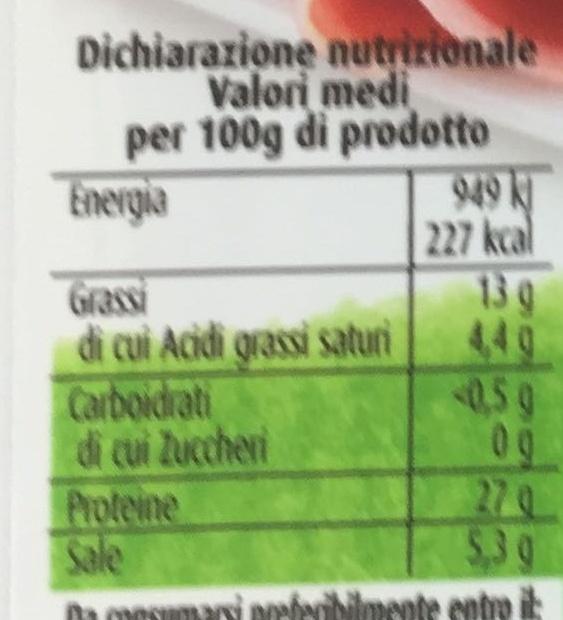 prosciutto crudo - Informations nutritionnelles - fr
