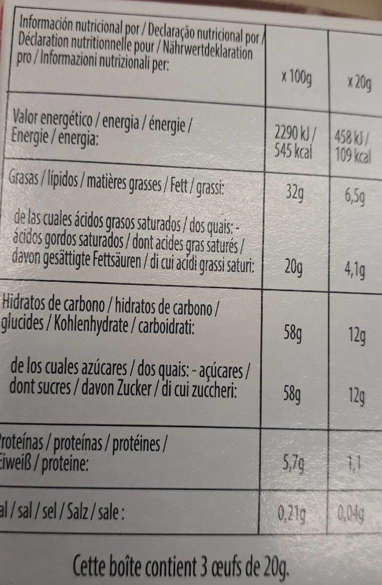 Oeuf en chocolat - Valori nutrizionali - fr