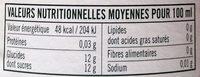 Citron de Sicile - Informations nutritionnelles - fr