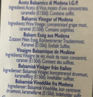 Aceto balsamico di Modena IGP - Ingrédients - fr