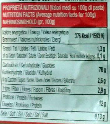 Orecchiette paesane - Informations nutritionnelles