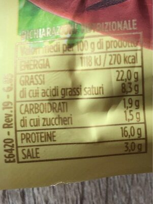 Wudy al Formaggio - Nutrition facts - bs