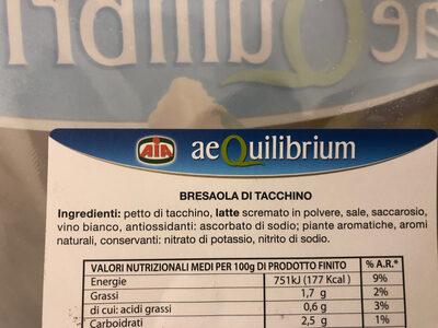 Aequilibrium bresaola di tacchino - Ingrédients - it