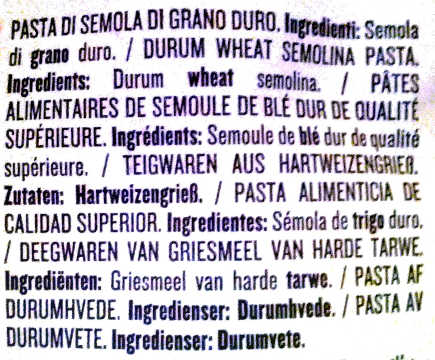 Rummo penne rigate no 66 - Ingredients