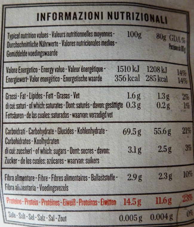 Rummo penne rigate no 66 - Nutrition facts
