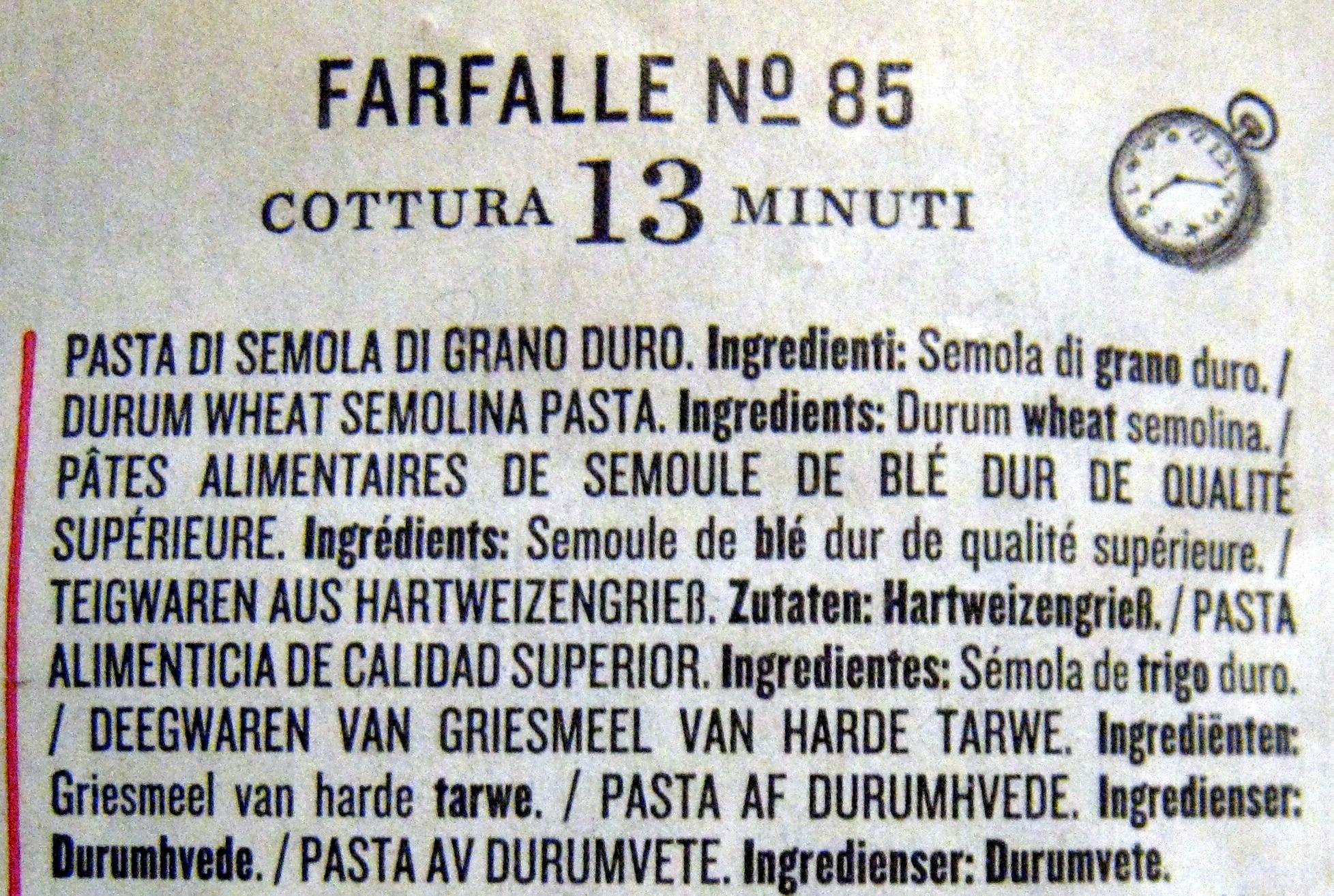 Farfalle N° 85 - Ingrédients - fr