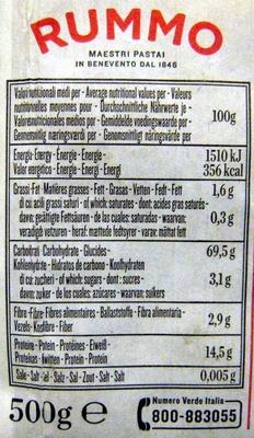 Farfalle N° 85 - Informations nutritionnelles - fr