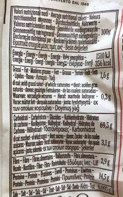 Orecchiette N°87 (Leggendari) - Voedingswaarden - fr