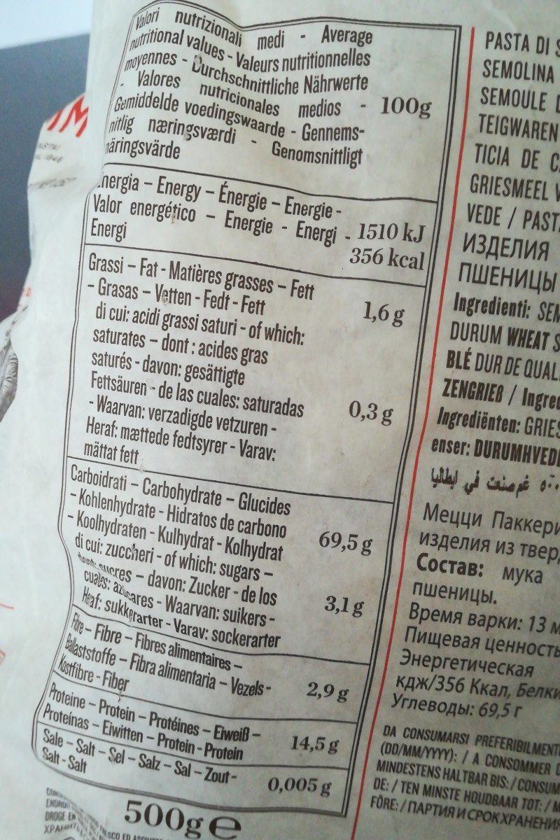 Le leggendarie mezzIGPaccheri rigati n° - Ingredients - fr