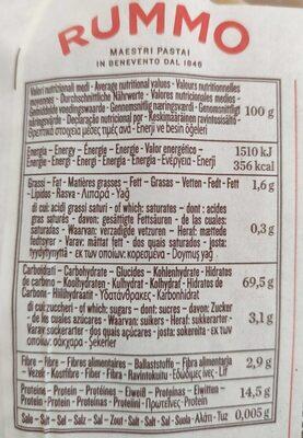 Le leggendarie mezzIGPaccheri rigati n° - Nutrition facts - fr