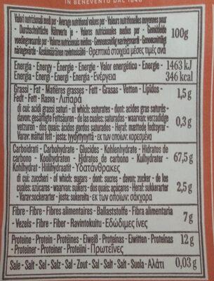 Vollkornnudeln, Bio, Fusilli Integrali, Le Biologiche, Rummo - Informations nutritionnelles