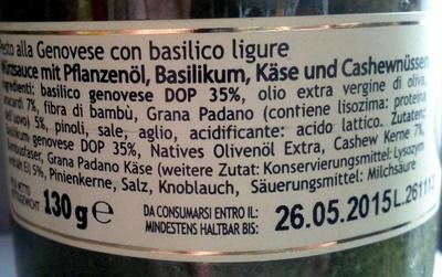 Anfosso Pesto alla Genovese con Basilico Ligure - Ingrédients - de