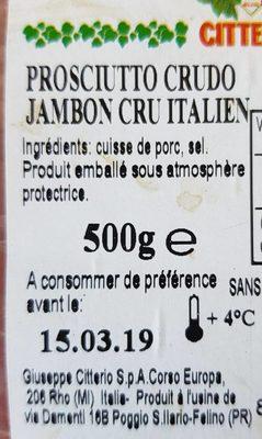 Jambon cru italien - Ingrédients - fr
