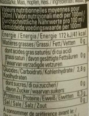 Asahi - Nutrition facts - fr