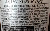 Asahi - Ingredients - fr