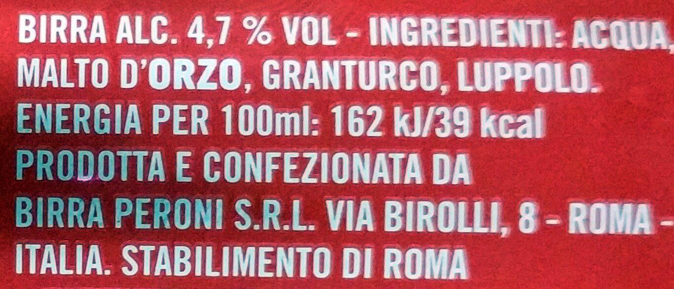 Birra Peroni - Ingredients