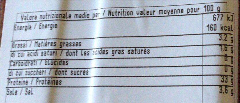 Bresaola - Valori nutrizionali - fr