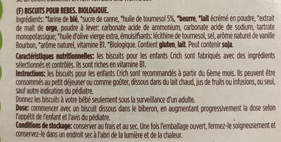 Baby biscuit - Ingrediënten - fr