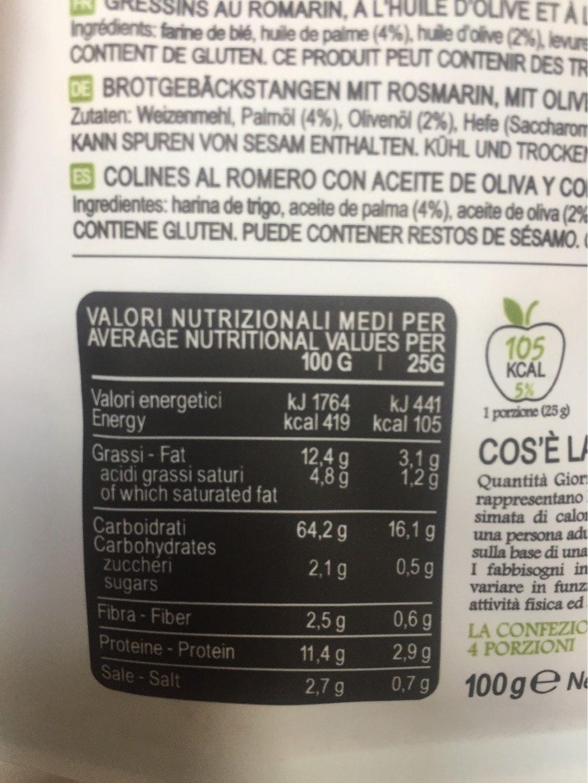 Mini Sfornatini Huile D'olive - Voedingswaarden - fr