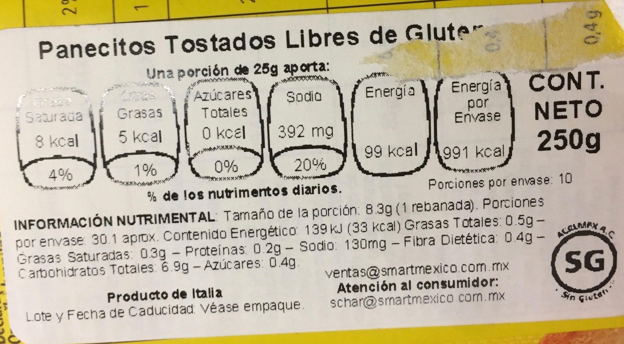 Biscottes - Información nutricional - es