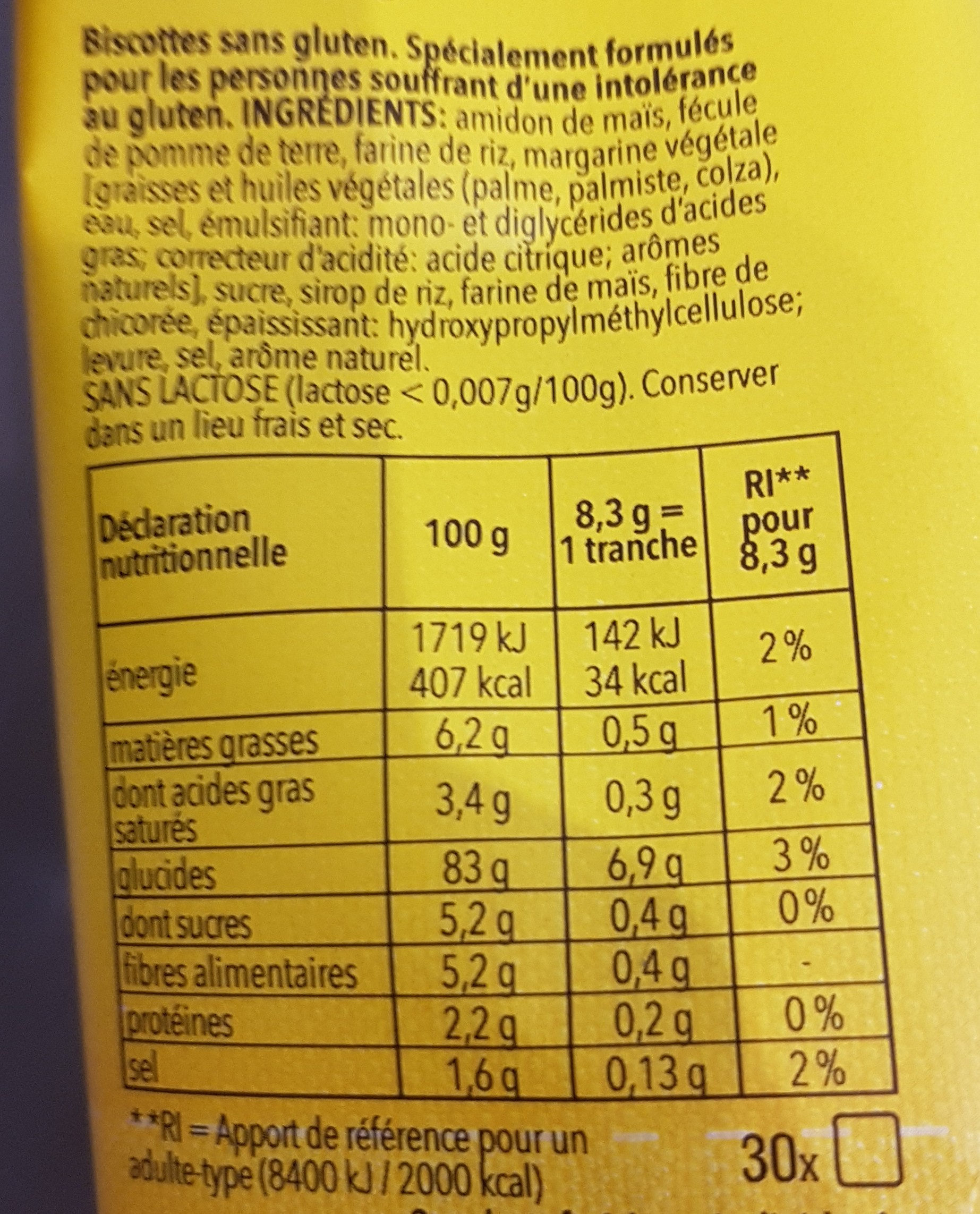 Biscottes - Nutrition facts - fr